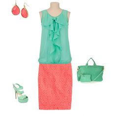 """Clear Spring - seagreen/coral"" by adriana-cizikova on Polyvore"