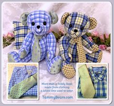 Custom designed, custom made just for you from your special clothing and materials. Contact Tammy to have a special keepsake bear personally made just for you. Source by design Teddy Bear Patterns Free, Teddy Bear Sewing Pattern, Sewing Toys, Sewing Crafts, Sewing Projects, Sewing Stuffed Animals, Stuffed Toys Patterns, Memory Crafts, Memory Pillows