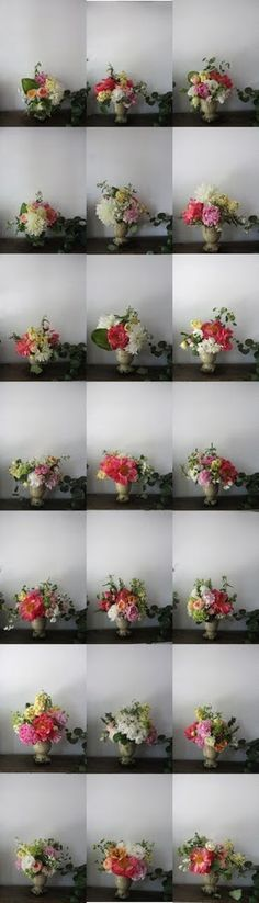 different flower arrangements