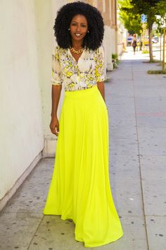 Beautiful color Vintage Shirt + Neon Maxi Circle Skirt