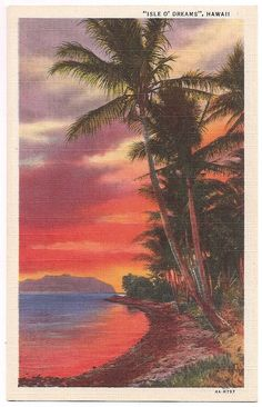 Hawaii Sunset Tropical Orange Sky with Palm Trees - Vintage Linen Postcard Souvenir Memorabilia - Vintage Hawaii Postcard Hawaiian Sunset, Hawaiian Art, Vintage Hawaiian, Hawaii Surf, Hawaii Logo, Hawaii Travel, Hawaii Pictures, Hawaii Style, Orange Sky