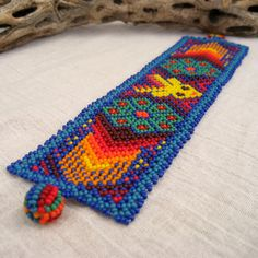 15 OFF Colorful Beaded Huichol Bracelet with Deer by MayaMerchant Bugle Beads, Seed Beads, Loom Beading, Beading Patterns, Beaded Jewelry, Ethnic Jewelry, Jewellery, Seed Bead Art, Mexican Designs