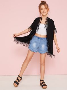 To find out about the Girls Crochet Fringe Trim Kimono at SHEIN, part of our latest Girls Kimono ready to shop online today! Casual Teen Fashion, Preteen Girls Fashion, Teen Girl Outfits, Girls Fashion Clothes, Cute Outfits For Kids, Cute Summer Outfits, Outfits For Teens, Cool Outfits, Girl Fashion