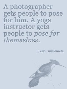 A photographer gets people to pose for him.  A yoga instructor gets people to pose for themselves.  -Terri Guillemets