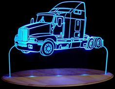 Semi Truck Kenworth Acrylic Lighted Edge Lit by ValleyDesignsND, $69.50
