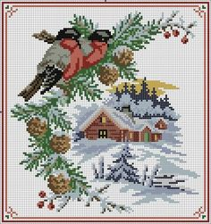 вышивка крестом снегири на рябине схема: 14 тыс изображений найдено в Яндекс.Картинках