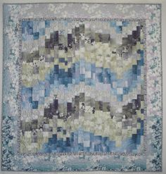 Northern Lights Free Form Bargello Quilt in Blue by Pamelaquilts, $175.00