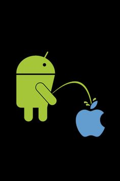 android pees on green apple