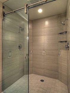 top hung sliding shower door = love