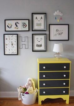 Kids room.  Chalk board paint on drawers - could label them.