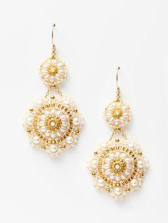 Miguel Ases Pearl Double Flower Drop Earrings