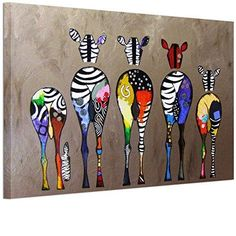 RAIN QUEEN Cute Colorful Zebra Poster Print Painting Wall Art 1pc