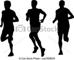 Stock Illustration - marathon runner running silhouette - stock illustration, royalty free illustrations, stock clip art icon, stock clipart icons, logo, line art, pictures, graphic, graphics, drawing, drawings, artwork