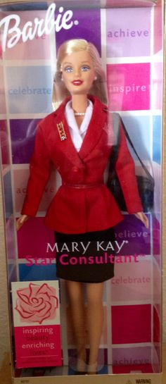Mary Kay Cosmetics - a Star Consultant Barbie who's earned her Red Jacket to match her makeup, nail polish, and lipstick!