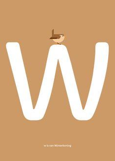 Winterkoning print. Nederlands Vogel Alfabet print: W is van Winterkoning