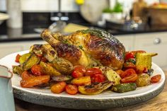Brian Turner's Roasted Lemon and Thyme Chicken with Brioche and Onion Stuffing and Chilli Vegetables is a great alternative to your usual Sunday Roast. One pot, simple and tasty! Roast Dinner, Sunday Roast, Lemon Thyme Chicken, Cheesy Garlic Bread, Tv Chefs, Plum Tomatoes, James Martin, Roasted Chicken, Stuffing