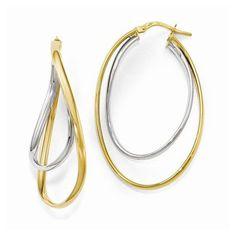 Two Tone Oval Hoop Earrings https://www.goldinart.com/shop/earring/14k-earrings/two-tone-oval-hoop-earrings #14KaratYellowAndWhiteGold, #HoopEarrings, #Oval