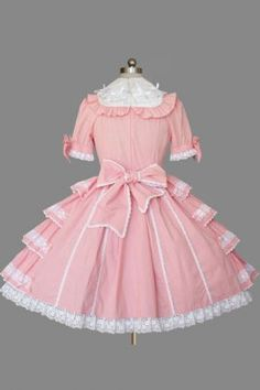 Elegant Pink and White Cotton Short Sleeves Bowtie Side Trimmings Lolita Dress, ocrun.com