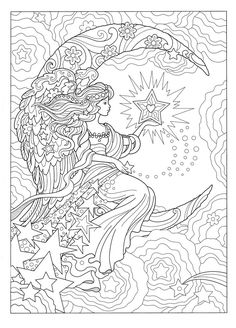 Creative Haven Beautiful Angels Coloring Book Fairy Coloring Pages, Adult Coloring Book Pages, Printable Adult Coloring Pages, Mandala Coloring Pages, Animal Coloring Pages, Coloring Pages To Print, Free Coloring Pages, Coloring Sheets, Coloring Books