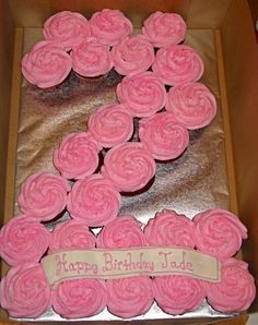 number 2 shaped cupcakes