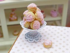 1:12 scale // Pink Choux Bun Display  Shabby Chic Stand  12th by ParisMiniatures, $30.00