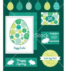 Abstract green circles set of easter cards vector - by Oksancia on VectorStock®