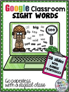 """Google Classroom is a great way to assess sight word fluency reading skills. This resource has 38 interactive slides with cute visuals. Each slide has moveable pieces so the kids can """"show what they know"""". Perfect for beginning readers. BONUS 38 NO PREP printable worksheets great for additional practice or for homework"""
