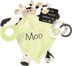 "$9.99 Baby Mud Pie Baby EiEiO Teether Blankie, Cow - Mudpie Baby EiEiO Teether Blankie, CowMini-reversible plush and satin blanket features teether and ring toys to entertain baby.Features include: •Reversible security blanket•Teething ring and ring toys•Cow decoration with green blanket that says Moo•9"" x 8""•Makes a great shower gift http://www.amazon.com/dp/B001THPG2A/?tag=pin2baby-20"