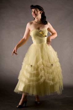 Vintage 1950s Tulle Wedding Dress Yellow--we have pictures of Mom in a white dress similar to this one attending the prom