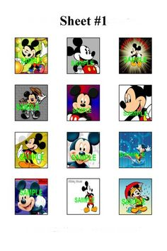 """Mickey Mouse Scrabble Tile Digital Images .75x.83"""" 4x6 Collage Sheet 