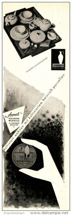 Original-Werbung/Anzeige 1954 - HEINRICH ANMUT PORZELLAN  - ca. 65 x 220 mm