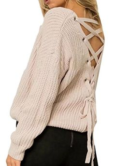 Cruiize Women Lace Up Criss Cross Casual Pullover Bandage Top Sweater Coco  Fashion d9672fbd8