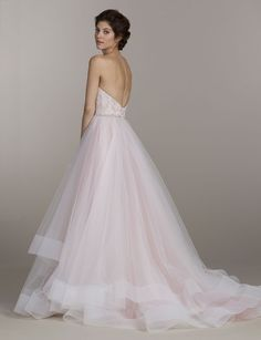 Sherbet tulle bridal ball gown, strapless corset bodice, crystal belt at natural waist, horsehair hem detail and chapel train Bridal Gowns, Wedding Dresses by Tara Keely - JLM Couture - Bridal Style tk2510 by JLM Couture, Inc.