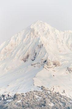 Snowy Peak, The peak of Mt. Hood as seen shortly after the sun sets in winter, Mt. Hood National Forest by Alene Davis