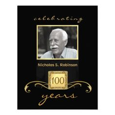 100th Birthday Party Elegant Photo Invitations 90th Parties 85th