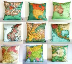Make pillows for all the places we've been...but in paler colored fabric