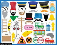 Train Props - Cutting Files SVG JPG Digital Graphic Design Instant Download Commercial Use Photo Booth Party Funny Fun Trains Hat (00991)