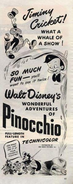 Poster for Pinocchio Walt Disney Animation, Animation Film, Disney Live, Disney Magic, Live Action Movie, Action Movies, Disney Posters, Film Posters, Jiminy Cricket