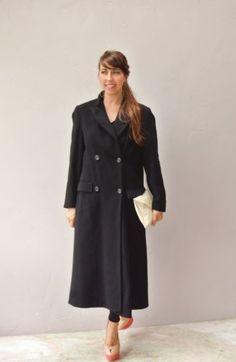 black coat / wool cashmere trench coat jacket / black wool Peacoat size medium
