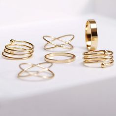 6PCS of Chic Women's Round Solid Color Rings, AS THE PICTURE, ONE SIZE in Rings | DressLily.com