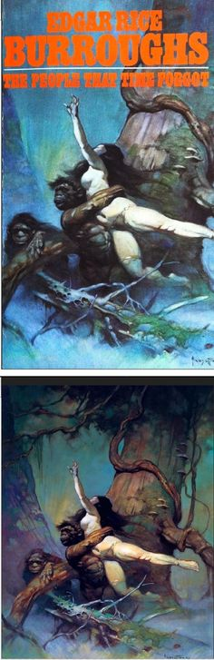 FRANK FRAZETTA - The People That Time Forgot by Edgar Rice Burroughs - 1973 Ace Books - print/cover by capnscomics.blogspot.com