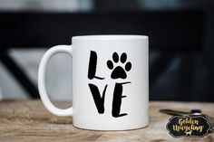 Love with Paw Coffee Mug I Love My Pet Pet by GoldenUpcycling