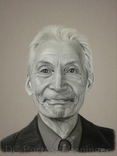 """Charlie Watts"" realistic portrait drawing made with pastelpencils and pastelchalc"