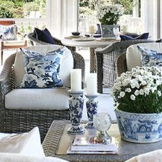 Lovely shot of Enchanted Home featuring Studio Tullia's  Chiang Mai in China Blue by Schumacher. Available in different sizes and color ways.