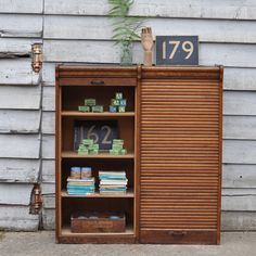 French Oak Tambour Double Fronted Filing Cabinet