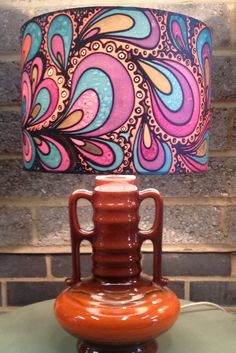 Hand silk painted, retro psychedelic lamp