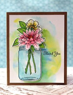 #cre8time for thank you and a flower vase. #Stampendous and #ChameleonPens