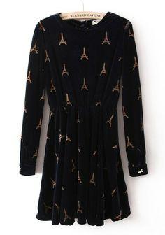 Navy Long Sleeve Eiffel Tower Pattern Bow Dress