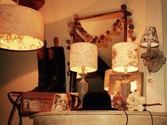 Handmade Victorian Toile Lampshades, print shines through when lamp lit. facebook - search thelittlebrickhouserushton