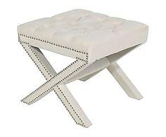 Sgabello in legno e lino capitonne' con borchie Anita - 53x46x53 cm